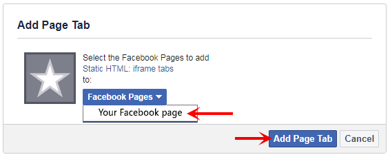 Selecting pages to add live chat tab to