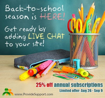 Get ready for back-to-school season by adding Live Chat to your site