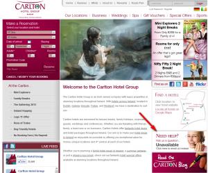 Carlton Hotel Website Example