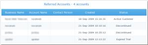 Referred Accounts Status