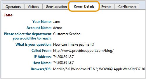 room details tab