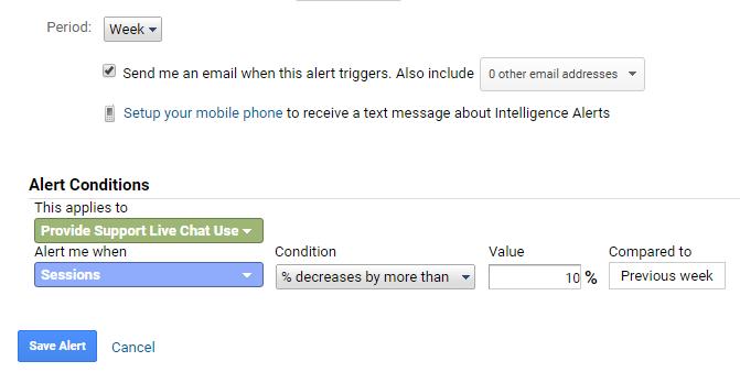 custom alerts and live chat