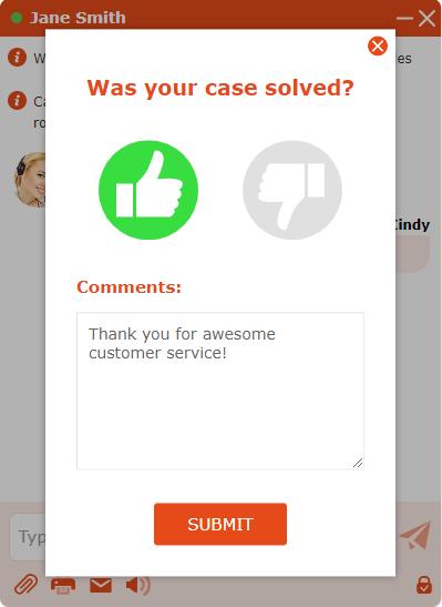 Post chat survey