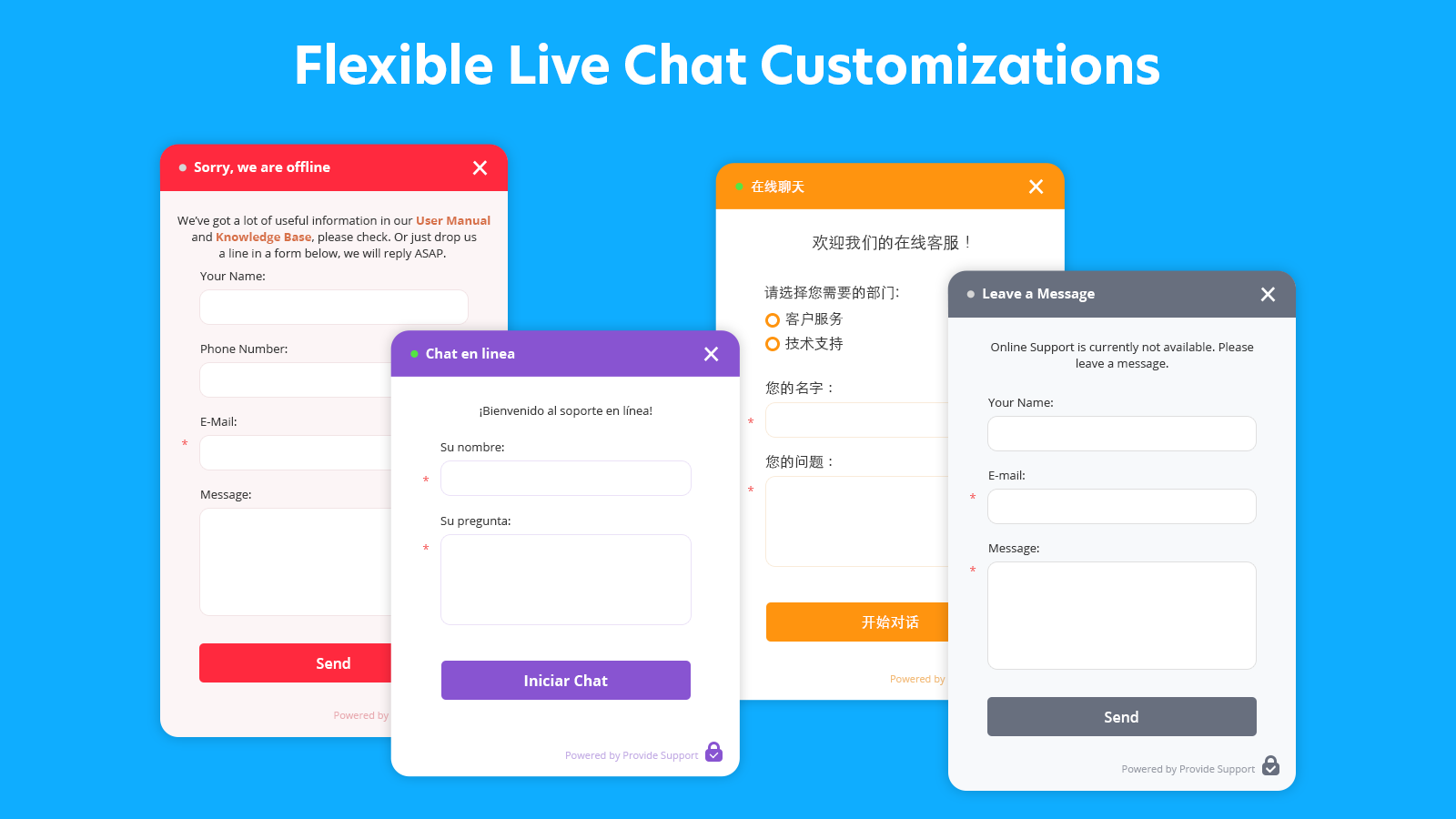 provide support live chat window
