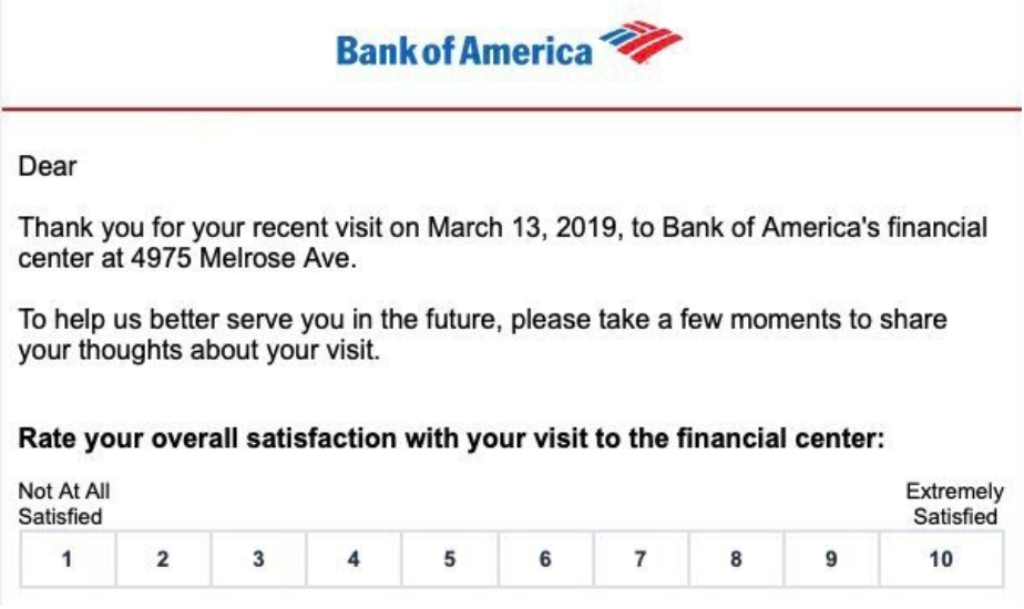 NPS surveys Bank of America
