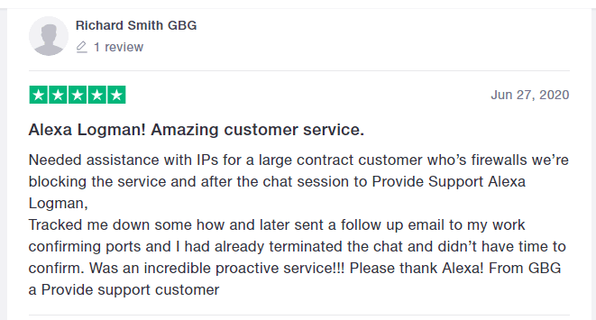 live chat review on Trustpilot
