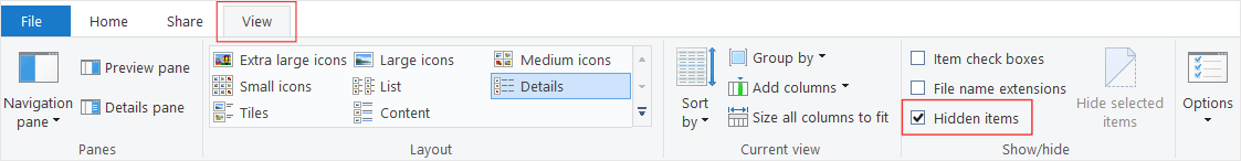 To access AppData, check Hidden items option on the View tab